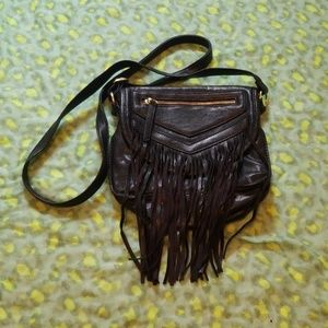 Madden Girl black cross body bag with fringe